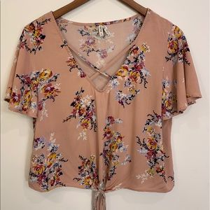 Short Sleeve Dusty Pink Floral Tie Front Blouse